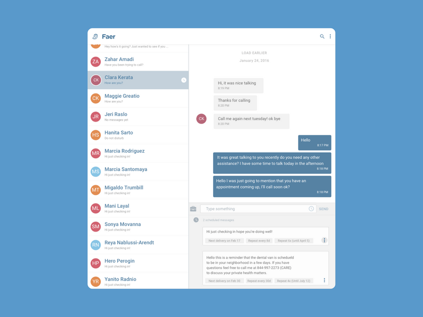 I led user research and interface design for the Faer messenger concept